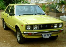 The 1978 Toyota Carina 1600 sedan, as exported to the UK in right-hand-drive format.
